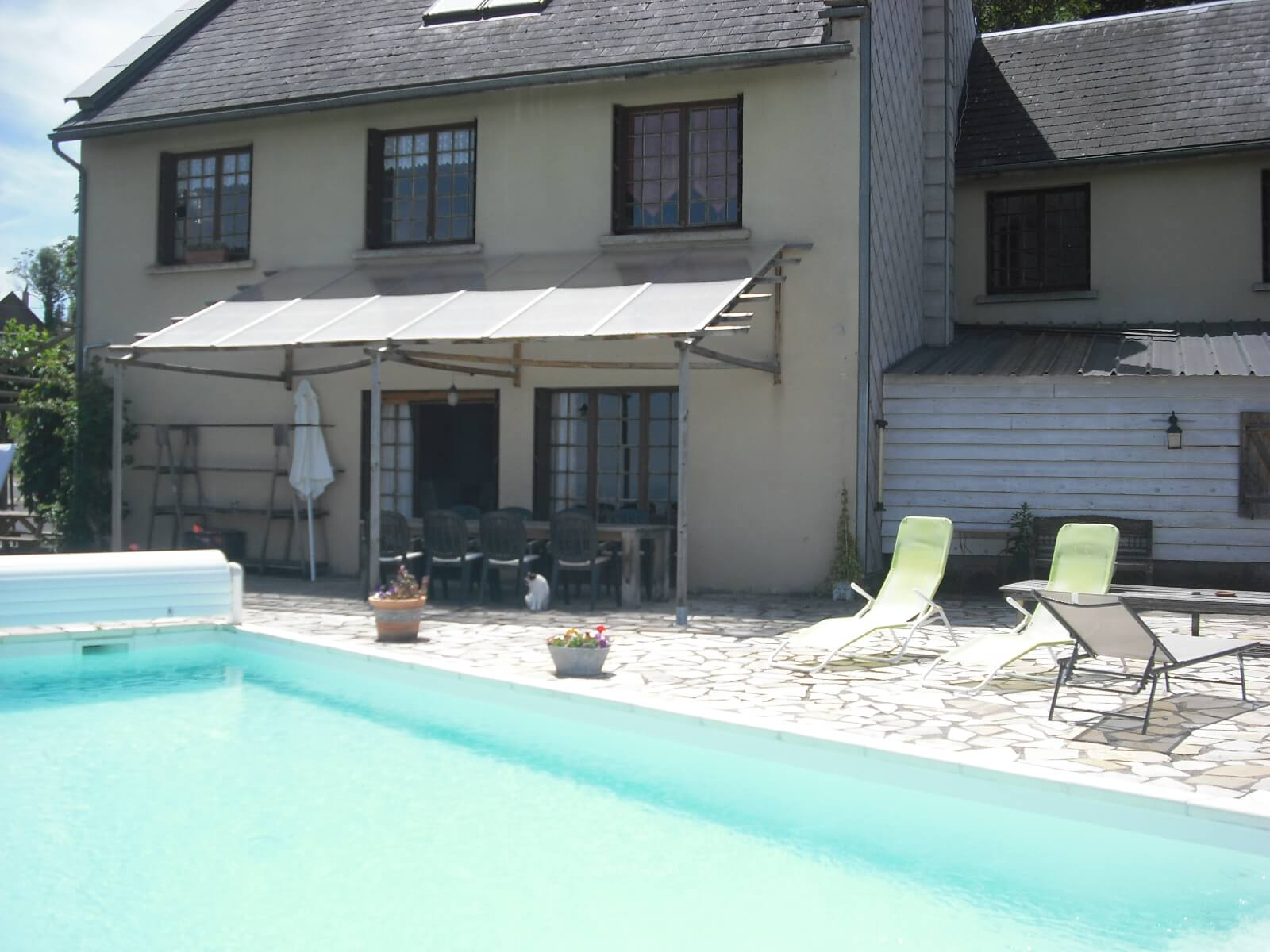 The house and swimming pool